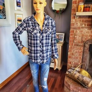 Angie 100% cotton blue plaid button down shirt
